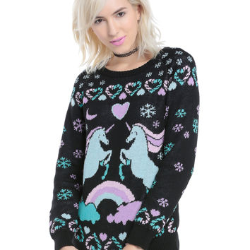 Pastel Unicorn Intarsia Sweater