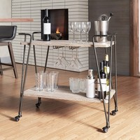 Metropolitan Dark Bronze Industrial Metal Mobile Bar Cart with Wood Shelves by iNSPIRE Q Artisan | Overstock.com Shopping - The Best Deals on Bars
