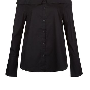 Black Bardot Neck Shirt
