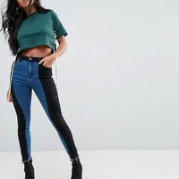 ASOS PETITE RIDLEY High Waist Deconstructed Skinny Jeans in Vincente Charcoal and Genevie Blue at asos.com
