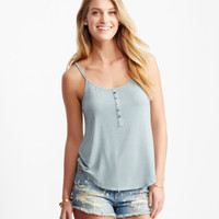 Solid Ribbed Henley Tank - Aeropostale