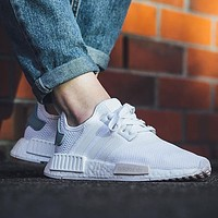 """Adidas"" NMD personality trendy casual sports shoes white + green F"