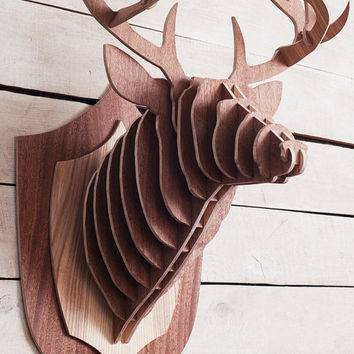 Wooden Deer head stag trophy large Deer on wall 3D puzzle, wooden animal head on the wall, wood  sculpture, wood wall decor, cardboard head