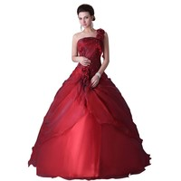 Grace Karin One Shoulder Ball Gown Dress For 15 Years Cheap Red Quinceanera Dress Sweet 16 Ball Gown Quinceanera Dress