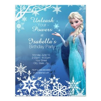 "Frozen Elsa Birthday Invitation 4.25"" X 5.5"" Invitation Card"