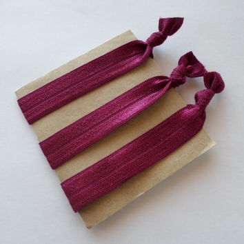 No Crease Hair Ties-Burgundy