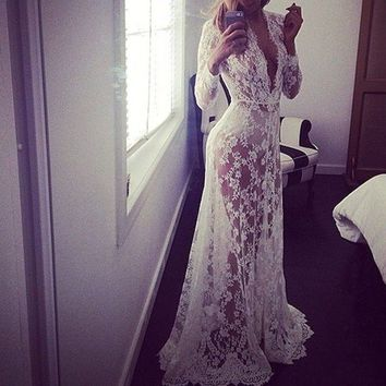 New 2016 Women Sexy Lace Embroidery Long Maxi Dress Long Sleeve Deep V Neck See Through Plus Size Party Dress