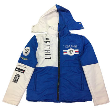 Club Foreign Britain Bubble Jacket Detachable Hood In Blue/White