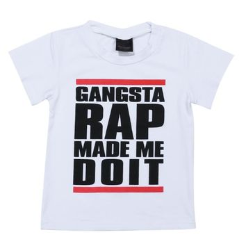 Gangsta Rap Letter Printed Kids Fashion Tops Baby Boys T-Shirt Clothes Children Leisure Outfits