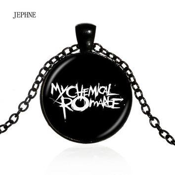 JEPHNE Jewelry Women's Fashion Rock Band My Chemical Romance Pendant Necklace Photo Art Glass Cabochon Gift For Music Lover