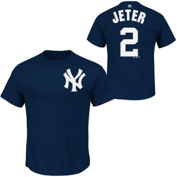 Derek Jeter New York Yankees Majestic Official Name and Number T-Shirt – Navy Blue