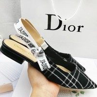 DIOR sells casual tartan flat sandals for women