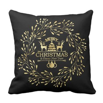 Gold Foil Reindeer Throw Pillow