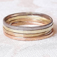 Solid 14K Gold Stacking Ring Set - Stackable Gold Rings - Delicate Stack Rings - Rose Gold - White Gold - Yellow Gold - Red Gold