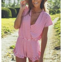 Tinsley- Your perfect preppy pink and white striped playsuit