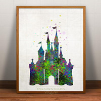 Disney Castle Print Watercolor, Disney Castle Poster, Art, Illustration, Watercolour, Giclee Wall, Kid Artwork, Cartoon, Fine, Home Decor