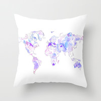 Purple Watercolor World Map Throw Pillow by Nika In Wonderland