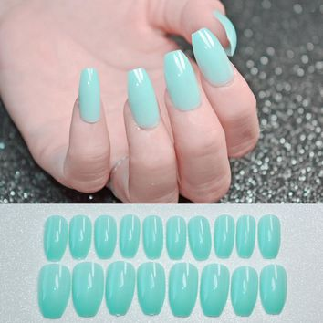 Shiny Coffin Design Nails Art Tips Mint Green Flat Stiletto Full Cover DIY Manicure Artificial Fake Nail Manicure Tool 143B