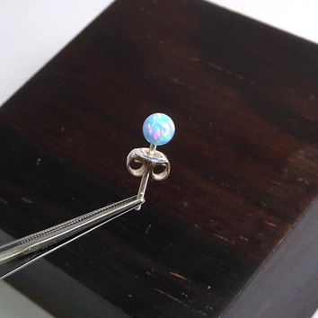 4mm single blue opal stud, opal ball stud,100% handmade Sterling Silver stud, Cartilage piercing, ear lobe stud earring, Multiple piercing