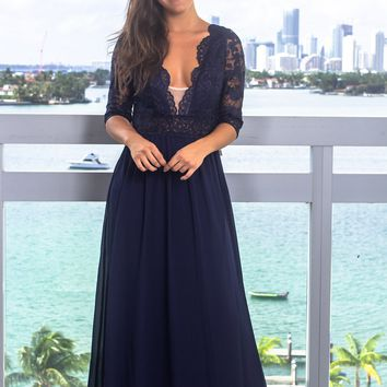 Navy Maxi Dress with Embroidered Mesh Top and Open Back
