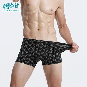 Soft breathable Bamboo fiber Men Underwear U convex corner men's modal Checked printed pants Boxers Shorts Plus size l-xxxl