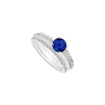 Sapphire and Diamond Engagement Ring with Wedding Band Set : 14K White Gold - 0.75 CT TGW