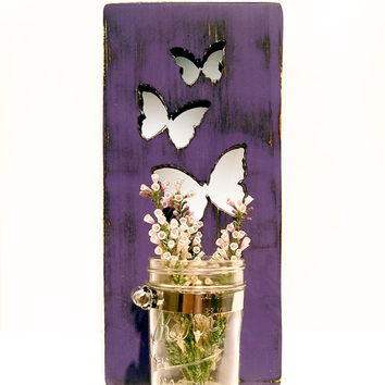 Mason Jar Butterflies Vase/Candle holder (Purple) Pine Wood Sign Wall Decor Rustic Americana Cottage Chic