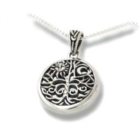 "Celtic Tree of Life Art Symbol with Sun and Moon Sterling Silver Pendant with 18"" Necklace"