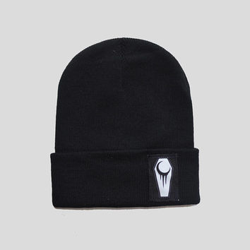 Pastel Goth Crescent Coffin Winter Beanie Headwear Hipster Indie Swag Dope Hype Black Hat Beanie Cute Slouchy Hat Alternative Fashion