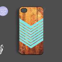Iphone 4 case, iphone 4s case - Arrow Teal Wood Iphone Cases, Designer protective Rubber case for phones