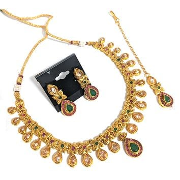 Antique gold tear drop design choker Necklace and earring set with Maang Tikka
