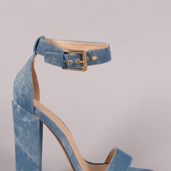 Liliana Denim Buckled Ankle Strap Chunky Heel