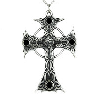 Gothic Silver Victorian Cross with Black Stones