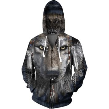 Tribal Wolf Zip Up Hoodie