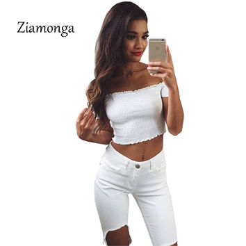 Ziamonga Women Fashion Summer Beach Tops High Elastic Sexy White Off Shoulder Strapless Party Knitted Tank Tshirt Cropped Tops