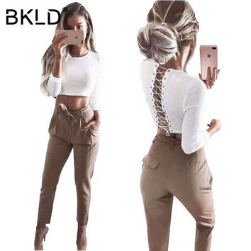 BKLD 2018 Casual Sexy Back Lace Up Sweater Women Skinny Slim Knitting Pull Femme Crop Tops Long Sleeve Warm Autumn Winter Jumper