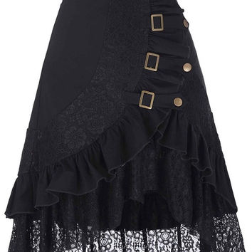 Womens Pencil 50s style asymmetrical skirt Vintage Women Steampunk Gothic Clothing Gypsy Hippie High Stretchy Bodycon Office