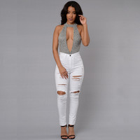 Sexy Jumpsuit 2016 New bodycon bodysuit V-neck sleeveless Hollow Out Romper womens jumpsuit Solid shorts combinaison femme M0126