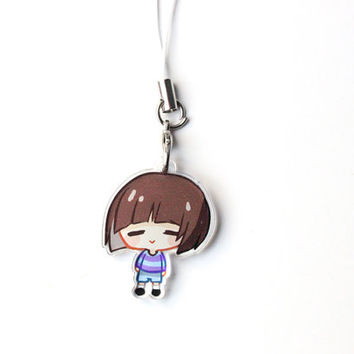 "Undertale Frisk 1"" Mini Acrylic Charm with Phone Strap (Double Sided Front & Back)"