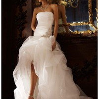 Buy Organza and Tulle High-Low Gown with Beaded Flower Style SPK470  , from  for $165.13 only in Fashionwithme.com.