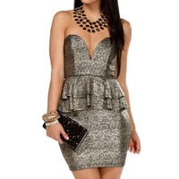 Black/Gold Shimmery Plunge Peplum Dress