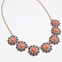 Navy Aztec Flower Necklace