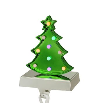 "7.25"" Battery Operated LED Multi-Color Lighted Green Christmas Tree Stocking Holder"