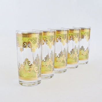 GEORGES BRIARD Glamorous Scroll Tall Glasses Set of 5