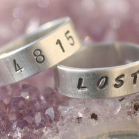 """TV LOST Numbers - """"4 8 15 16 23 42"""" & LOST - 2 Hand-Stamped Aluminum Rings - New Font - Free Shipping"""