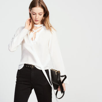Loose-Fitting Lace-Up Silk Top