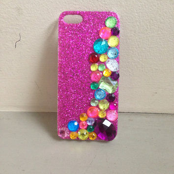 Bedazzled wave GLITTER iPhone 5 Case by kickinitclothing on Etsy
