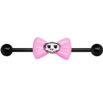 Black PVD Pink Bow Skull Industrial Barbell | Body Candy Body Jewelry