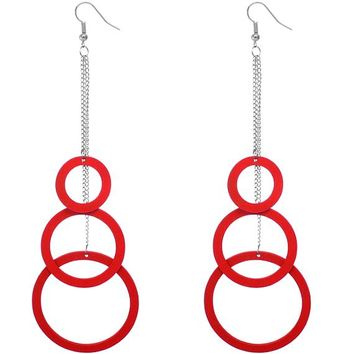 Red Wooden Cascade Drop Chain Hoop Earrings