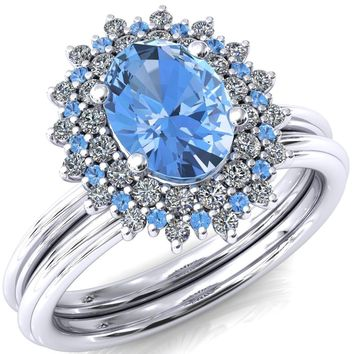 Eridanus Oval Aqua Blue Spinel Cluster Diamond and Aqua Blue Spinel Halo Wedding Ring ver.1